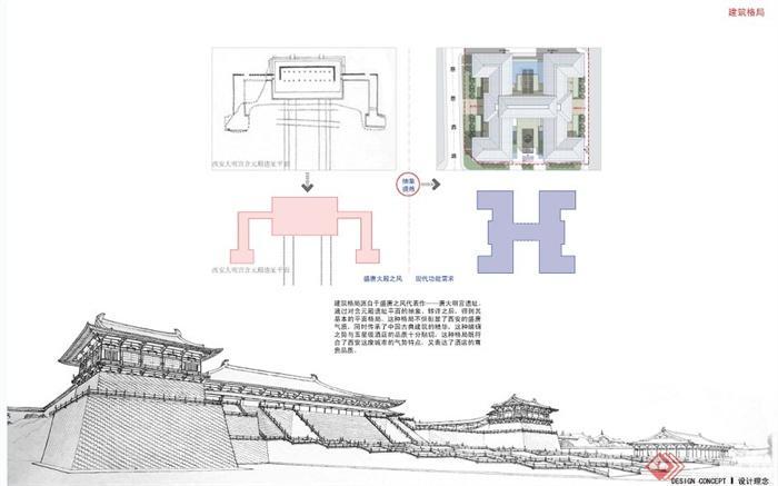 新中式风格五星级酒店建筑设计方案文本(3)