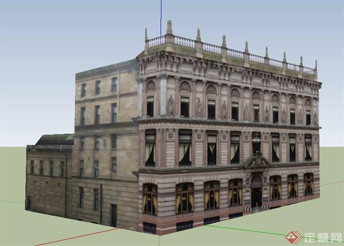 欧式老式办公楼建筑设计su模型(1)图片