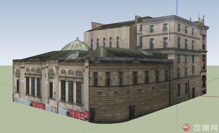 欧式老式办公楼建筑设计su模型(2)图片