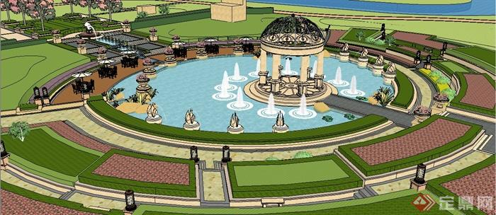 欧式风格休闲公园凉亭水景组合su模型