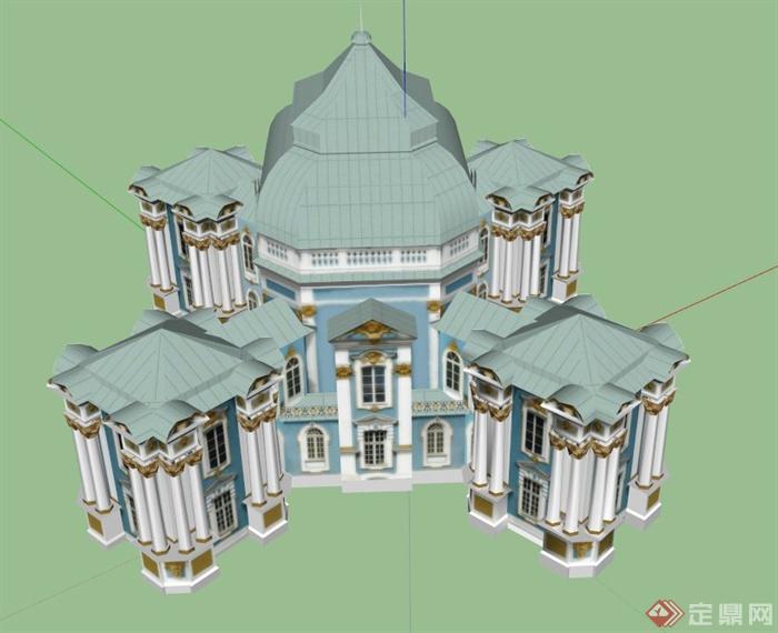 欧式豪华住宅建筑设计su模型