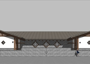 现代中式风格公共厕所建筑设计su模型