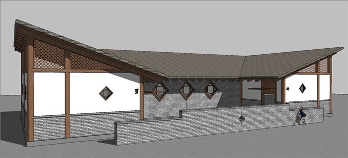 现代中式风格公共厕所建筑设计su模型[原创]