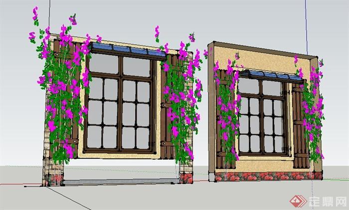 现代风格带雨棚花架窗户su模型
