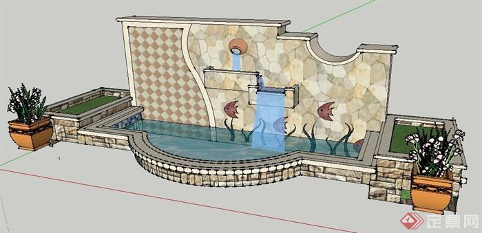 园林景观跌水景墙及花钵水池su模型