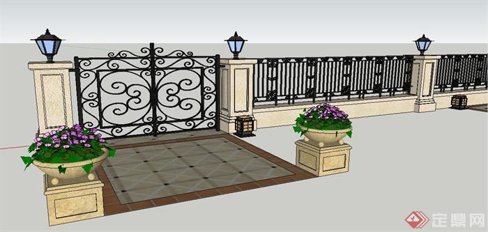 欧式风格铁艺大门,围墙及花钵su模型