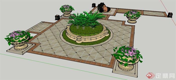 欧式风格中心花池,花钵