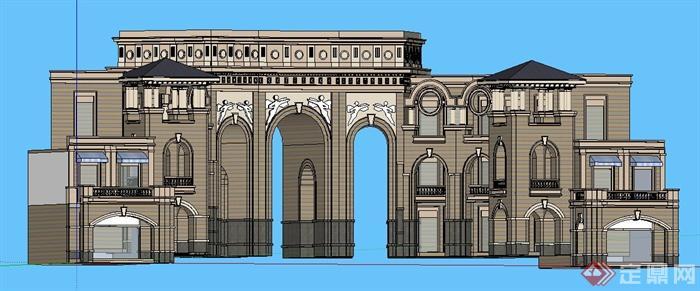 欧式风格拱形大门su模型图片