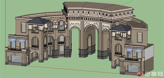 欧式风格拱形大门su模型