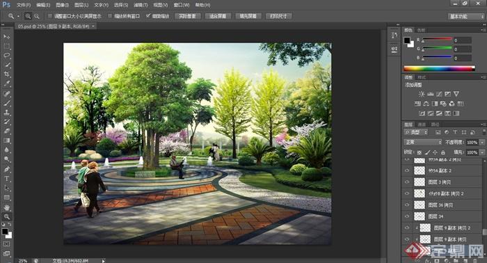 某地敬老院景观设计PSD效果图(2)