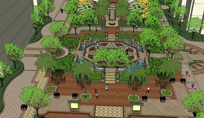 某欧式小区中庭景观设计su模型[原创]