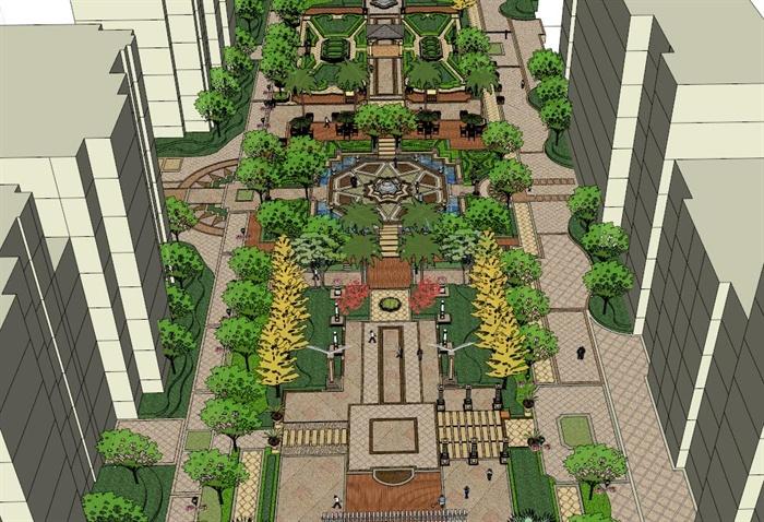 水景组合休闲平台景观设计SU模型,包含了水景、水池、平台、桌椅等的组合设计,克用于小区或广场景观设计参考,模型制作精细,具有一定的参考价值,有需要的朋友可以下载
