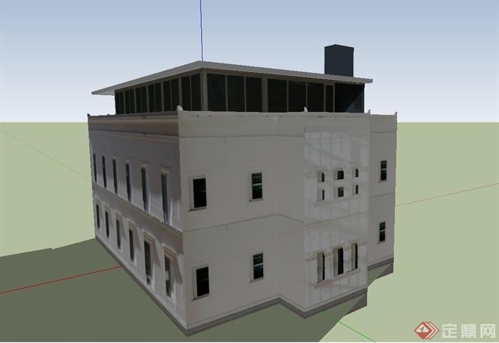 某欧式两层方形教堂建筑设计su模型(3)