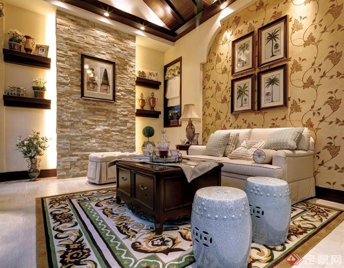 欧式别墅室内装饰设计图片-客厅沙发茶几椅子装饰墙
