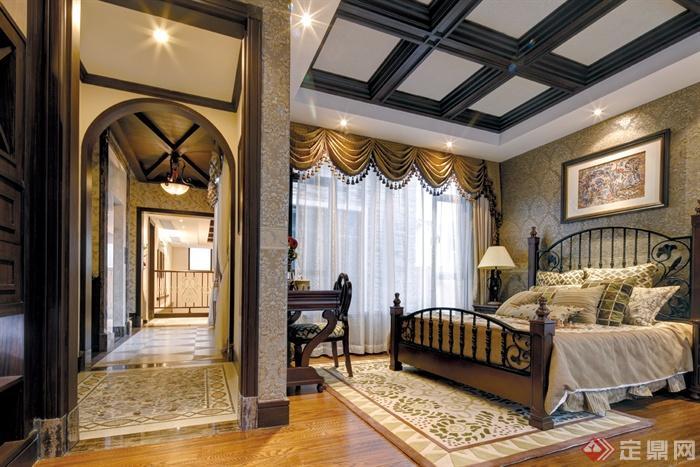 欧式别墅室内装饰设计图片-卧室床书桌床头柜过道-师