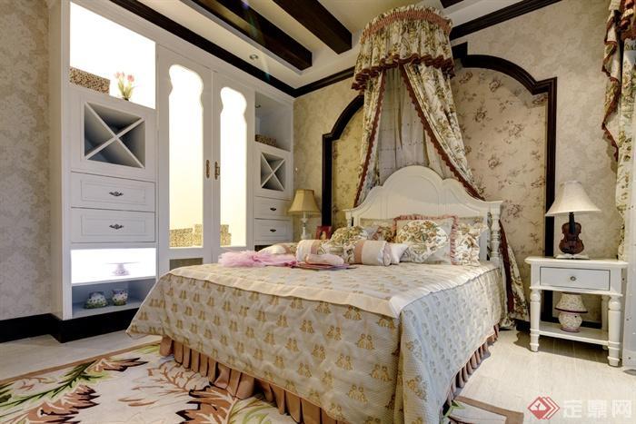 欧式别墅室内装饰设计图片-卧室床衣柜床头柜-设计师