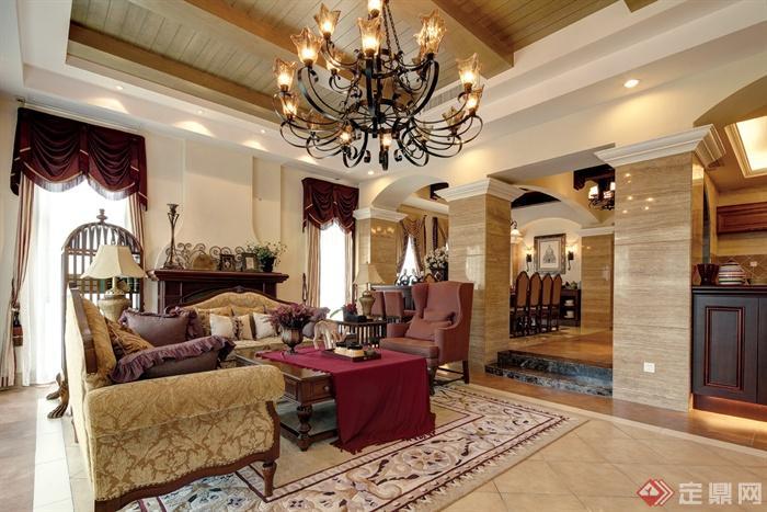 欧式风格别墅空间-客厅沙发茶几吊灯陈设-设计师图库