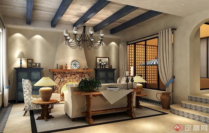 客厅,沙发,壁炉,吊灯,台阶,边柜,台灯,陈设
