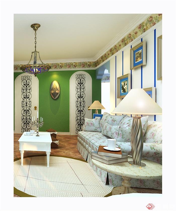 海风格住宅室内装饰图片-客厅沙发茶几边几台灯墙