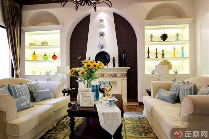 洛辰设计---东莞别墅样板房-客厅茶几沙发陈设柜-设计