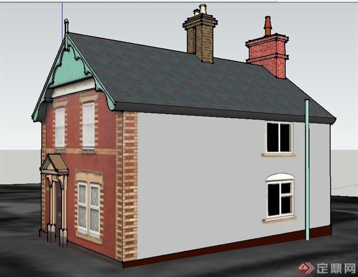 欧式风格民居住宅建筑su模型