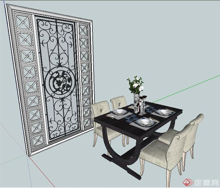 欧式风格餐桌椅及隔断su模型(1)