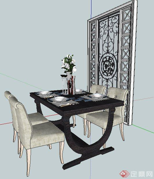 欧式风格餐桌椅及隔断su模型(2)