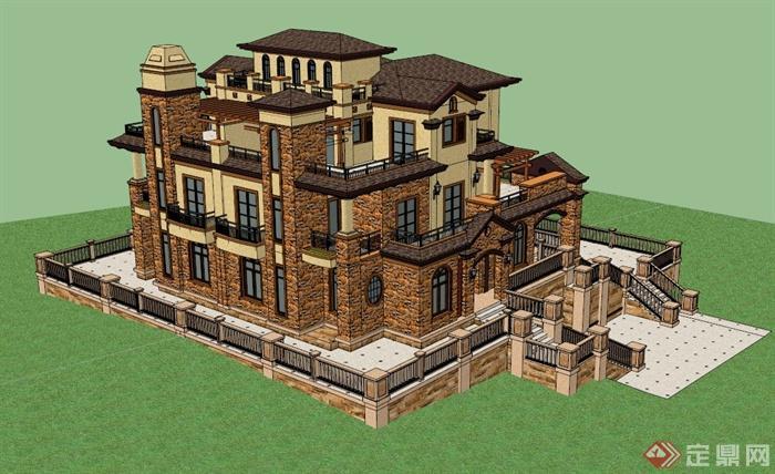 某棟歐式別墅建筑設計su模型