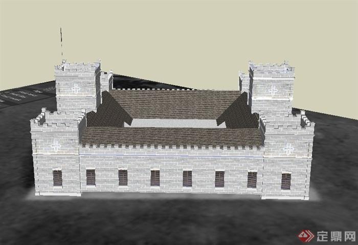 某欧式单层四合院式基督教堂建筑设计SU模型,该建筑制作细致,模型有材质贴图,建筑只有一层,具有一定的参考价值。