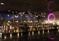 会所,大厅,餐厅,餐桌椅,吊灯,装饰墙