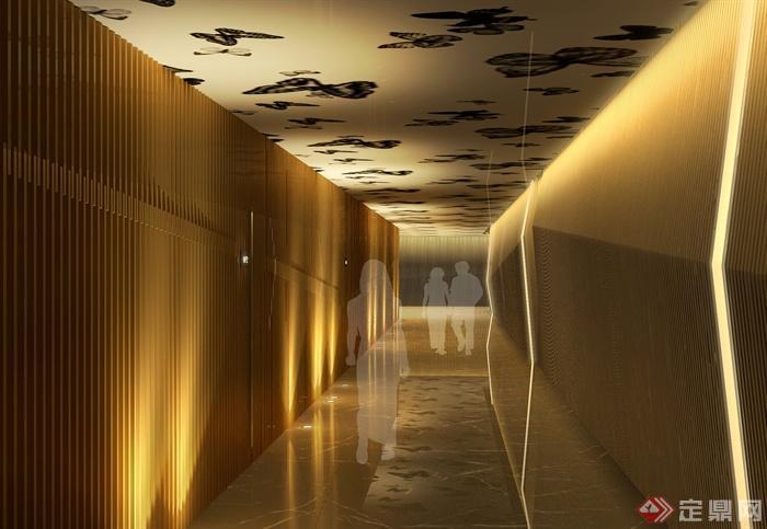 某會所室內裝飾設計圖片-會所走廊過道-設計師圖庫