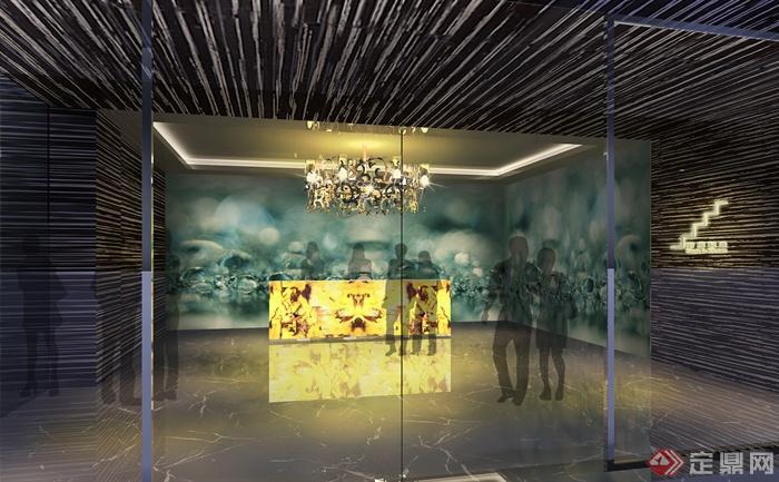 某会所室内装饰设计图片-会所前台吊灯-设计师图库