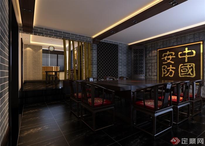 中式会所室内设计-会所桌椅装饰画隔断-设计师图库