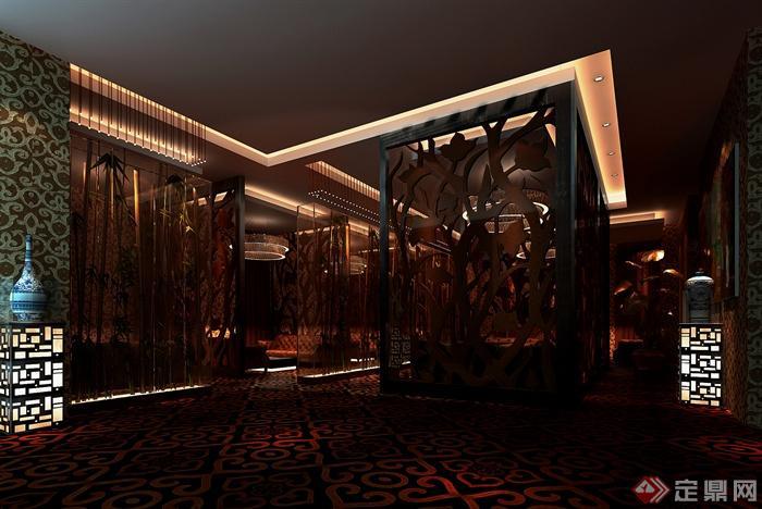 中式会所室内设计-会所隔断-设计师图库