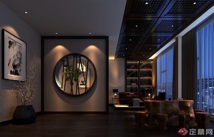 混搭风格会所室内设计-会所茶室窗洞茶桌凳陈列柜