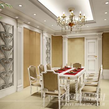 君邑设计—餐厅效果图精选-餐厅餐桌椅吊灯背景墙-师
