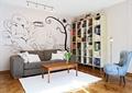 客厅,沙发,茶几,书柜,单人沙发,落地灯,地毯