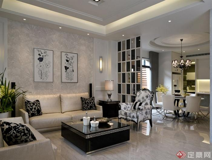 沙发背景墙装修实景图-客厅茶几沙发背景墙装饰画