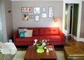 客厅,沙发,茶几,椅子,照片墙,落地灯