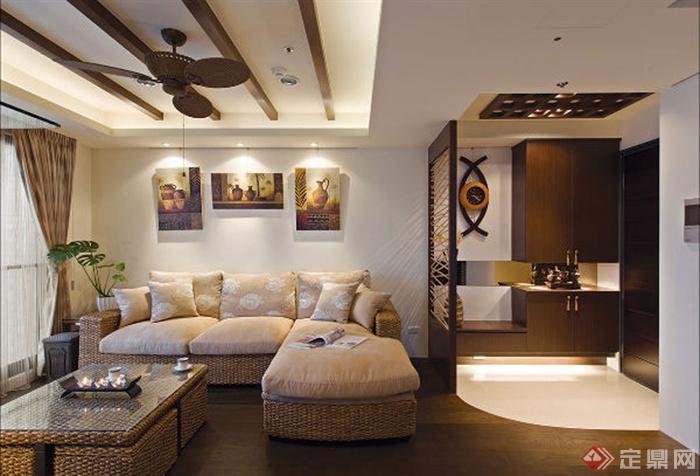 客廳家裝圖冊-沙發茶幾背景墻門-設計師圖庫