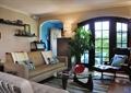 客厅,沙发,茶几,植物,窗子,门,背景墙