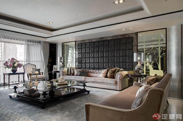 沙发背景墙装修效果图-客厅茶几沙发背景墙边几-设计