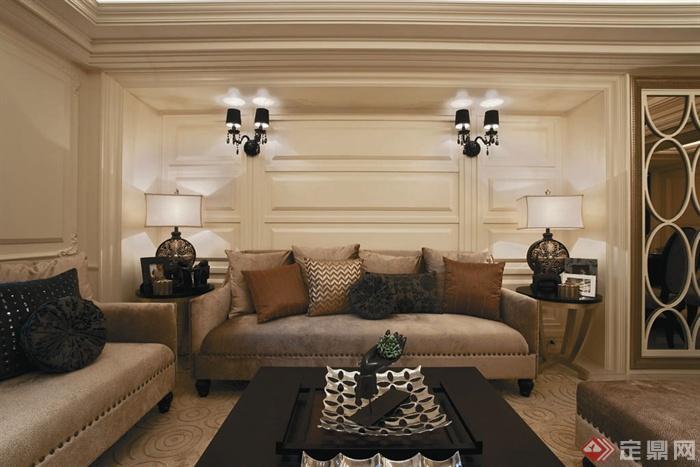 客厅沙发背景墙装修效果图-沙发茶几背景墙灯饰-设计