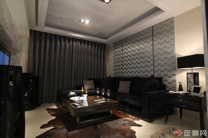 客厅沙发背景墙装修效果图-客厅沙发茶几窗帘背景墙