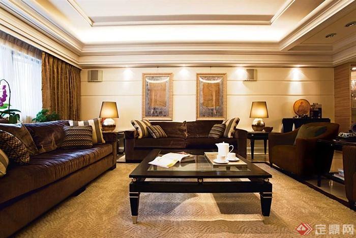 客厅沙发背景墙装修效果图-客厅沙发茶几背景墙灯饰