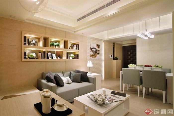 沙发背景墙装修实景图-客厅茶几沙发餐桌椅背景墙