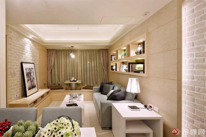 客厅,茶几,沙发,置物墙,背景墙,边柜,台灯图片