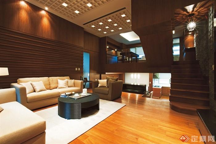 沙发背景墙装修实景图-客厅茶几背景墙沙发楼梯-设计