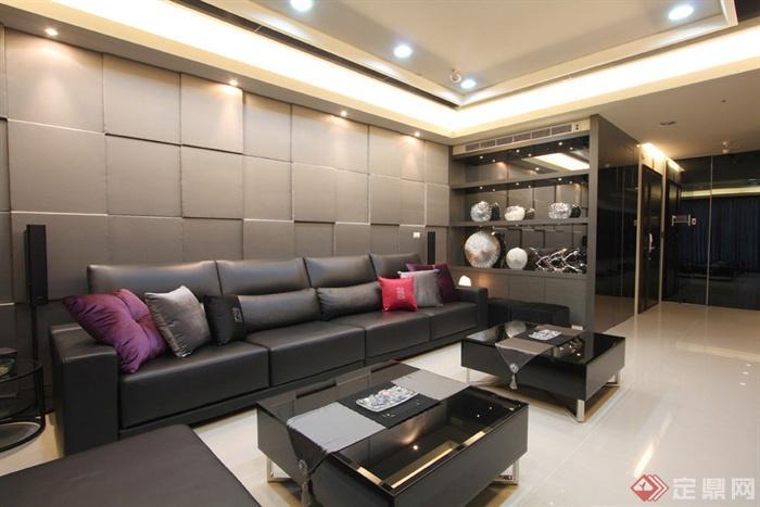 沙發背景墻裝修圖片-客廳茶幾沙發背景墻置物柜-設計
