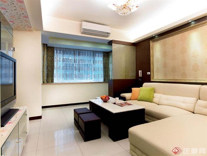 沙发背景墙装修图片-客厅茶几沙发背景墙电视柜-设计